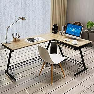 现代转角电脑桌大型办公桌家用台式电脑桌转角书桌学习桌大电脑桌子 (黄木纹色)
