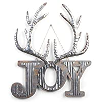 Napco Joy Silvertone 鹿角 16.75 x 14 金属装饰性墙牌
