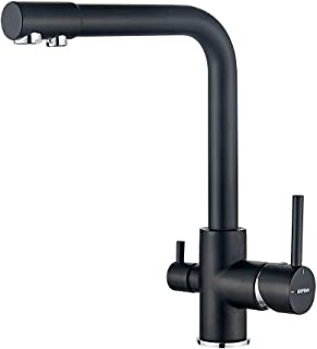 GRIFEMA G4003B 三合一厨房混合水龙头净水器,带两个出水口,黑色,3/8 de pulgada
