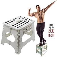 *折叠踏凳 - 11 英寸高 - 可容纳 300 磅 - 轻质可折叠踏凳结实,可支撑成人,足够*,适合孩子。 防滑,单翻盖打开