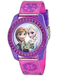 Disney 冰雪奇缘儿童数字手表表盘上印有 Elsa 和 Anna,紫色表壳,舒适的粉色表带,易于搭扣,儿童* - 型号:FZN3598