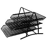 Deli 得力 9181 高品质商务三层金属文件盘(座)黑色 1只装