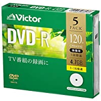 Victor维克托 1次录像用 DVD-R VHR12JP5J1 (单面1层/1-16倍速/5片)