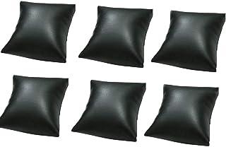 6 件套 3.15 x 3.5 英寸(约 8.9 x 8.9 厘米)黑色 PU 皮革手镯手表枕头珠宝展示配件托盘垫手镯支架收纳收纳盒