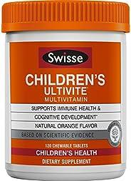 Swisse Ultivite 儿童 每日多种维生素,香橙味 | 适合 2-12 岁儿童 | 120 片咀嚼片