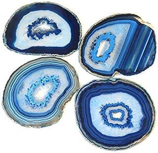 天然切片玛瑙杯垫,带橡胶缓冲垫,4 件套 EX. Blue 4-5 inch COASTER
