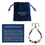Believe London 太阳能系统手链带珠宝袋和含义卡 - 可调节手镯适合任何手腕 - 9 种星球星星宇宙守护者 黑色
