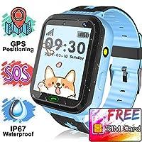 AMENON [免費 SIM 卡兒童智能手表手機,男孩女孩防水兒童手表,精確 GPS 追蹤器智能手表 SOS *呼叫防丟失相機兒童玩具 1. Blue - Free SIM card kids smart watch