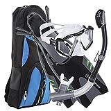 美国 Divers Lux Platinum 浮潜套装 - 全景面罩,枢轴鳍,GoPro Ready Dry 顶部风管 + 装备袋