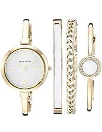 Anne Klein 女士 AK/3290WTST 金色调手链 手表和手镯套装