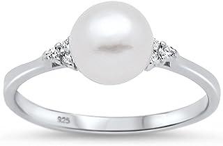 Oxford Diamond Co 纯银清新水珍珠方晶锆石戒指尺寸 4-10