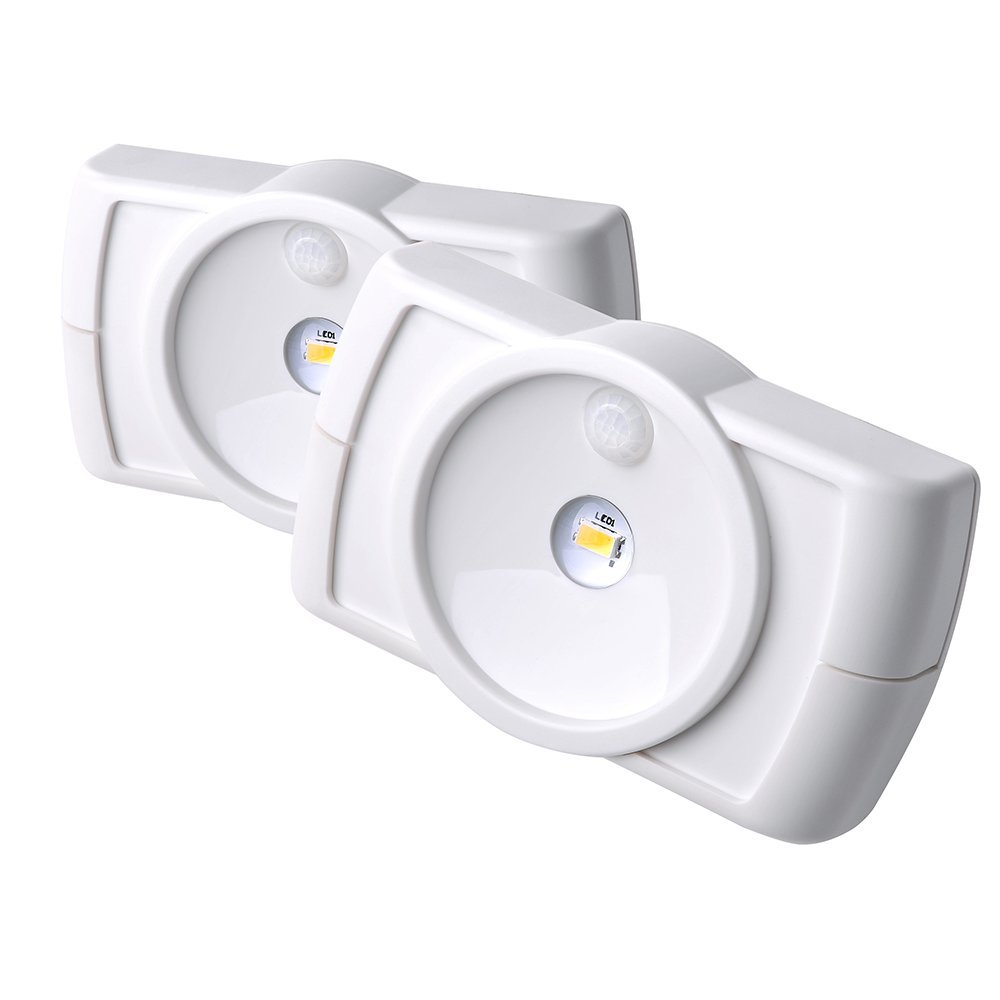 Mr. Beams MB852 室内无线超薄LED灯,带运动传感器功能,白色,2件装