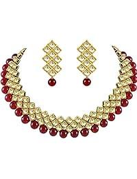 YouBella 珠宝宝莱坞民族镀金传统印度项链套装带耳环