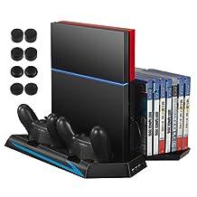 AMIR PS4 垂直支架冷却风扇,冷却器充电站带 2 个控制器充电端口 + 14 个游戏光盘存储器 + 3 个 HUB端口 + 8 控制器拇指手柄(不适用于 Pro 或超薄) 黑色 PS4 GA3 AMIR PS4 Stand
