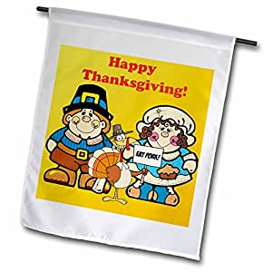 edmond hogge JR 感恩节 – HAPPY thanksgiving pilgrims – 旗帜 12 x 18 inch Garden Flag