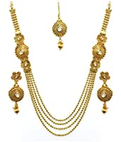 YouBella Antique Kundan Traditional Maharani Temple Necklace Set / Jewellery Set with Earrings for Women
