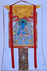 Medicine Buddha Thanka 或 Thangka White Brocade
