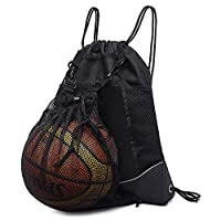 STAY GENT 男孩抽绳篮球背包,可折叠足球背包健身房包运动袋带排球网袋,黑色