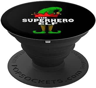 SUPERHERO Elf Family Christmas Group 配套睡衣礼品 PopSockets 握把和支架,适用于手机和平板电脑260027  黑色
