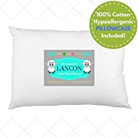 LANCON Kids 婴幼儿枕头带枕套 - 白色 33.02 x 45.72,* 纯棉,优质,柔软低*,可机洗。 2岁以上儿童完美小号枕头