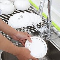 Yoki Home 厨房用品用具 创意厨房置物架 果蔬碟碗 清洗架 (2个大号+2个小号) 沥水架 水槽滤水架 不锈钢折叠置物架滤水架子(大号47*28cm,小号37*28cm)