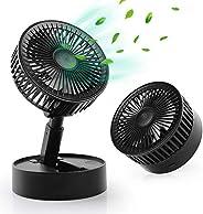 WD&CD 迷你台式风扇 USB 台式风扇强劲气流 带 7 个叶片,3 档速度,可调节头部适用于家庭办公室
