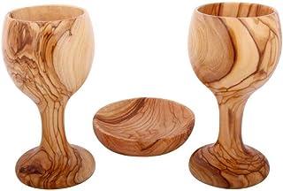 圣餐杯 - 主的晚餐 - 两个橄榄木酒杯 - Chalice(15.24 厘米大)带橄榄木面包盘