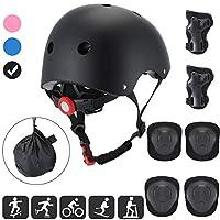 AODI 儿童防护装备套装,适合 3-8 岁儿童,可调节头盔护膝护肘,CPSC 认证,适用于多种运动、自行车、滑板车、滑板车、直排滑板车(7 件套)