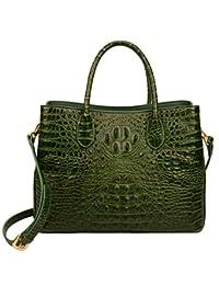 Ainifeel 女式真皮鳄鱼压花手提包顶部提手手提包单肩包挎包
