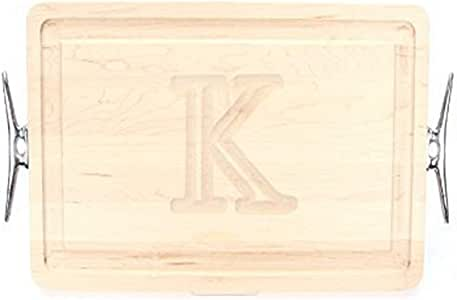 "CHUBBCO 220-LCLT-K Thick Carving Board with Large Boat Cleat Handle in Cast Aluminum, 15-Inch by 24-Inch by 1.25-Inch, Monogrammed ""K"", Maple"