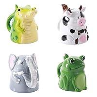 Topsy Turvy Upside Down 陶瓷动物咖啡杯套装,奶牛大象青蛙和鳄鱼