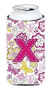 字母 Y 花朵和蝴蝶粉色罐或瓶子 Hugger CJ2005-YCC