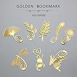 8 件装可爱卡通艺术金色羽毛书签金属书签 用于阅读文具办公室学校用品Fascola 出品