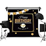 Dudaacvt 7 x 5 英尺黑色摄影背景 Great Gatsby Happy Birthday 生日快乐金色抽象几何背景金色烧烤照片工作室道具