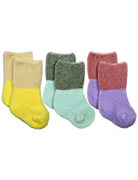 Anna Nicola 3双装 绒毛2色使用简单袜子 不易脱落的规格 6043 日本制造 紫色 7-9cm