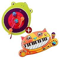 B.toys比乐 大嘴青蛙搭扣飞靶+大嘴猫琴音乐玩具 组合装精美礼盒套装 婴幼儿童益智玩具 2岁+