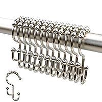 2lbDepot 浴帘钩环 - 拉丝镍表面 - 高级 18/8 不锈钢 - 阶梯高度双钩易滑滚轮 - 三种表面可选 - 12 件套适用于淋浴杆
