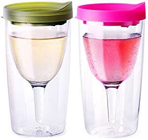 Vino2Go 双层丙烯酸玻璃杯带盖子,283.5 克,2 件装 Verde with Pink 10 盎司 564278-VTG-PINK-RRG