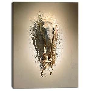 """设计艺术面板多彩抽象图案 L 码帆布动物艺术 12x20"""" PT13433-12-20"""