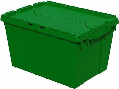 "Akro-Mils 39120 塑料储存和分发容器带铰链盖,54.61 厘米长 x 38.1 厘米宽,31.75 厘米高,6 盒装 21.5""L x 15"" W x 12.5"" H 39120GRN"