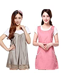 JINBBNET孕妇防辐射服马甲配银纤维吊带裙套装 粉红防辐射服休闲款