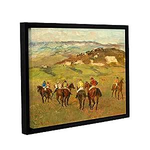 """ArtWall Edgar Degas's Jockeys on Horseback Before Distant Hills Gallery-Wrapped Floater-Framed Canvas, 24 x 32"""""""