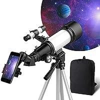 儿童初学者望远镜,70毫米光圈400毫米AZ支架,全多涂层光学,成人伸缩镜,天文折射器望远镜,带三脚架,手机适配器,背包