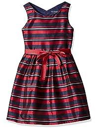 Nautica 女童条纹塔夫绸连衣裙,罗缎腰带
