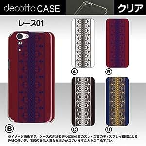 AQUOS PHONE ZETA SH-01F *智能手机保护套【蕾丝01 花纹】 [透明(透明) 保护套]cpc-sh-01f-lasea003c 红色