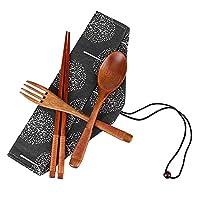 Local Makes A Comeback 木质餐具套装,3件,*餐具套装,适用于厨房和家庭,灰色