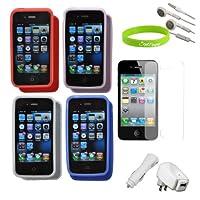 CrazyOn 数码保护壳,AT & T Verizon Sprint Apple iPhone 4S 充电器屏幕保护膜 - 组合装 - 零售包装 - 黑色
