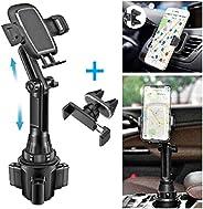 车载杯架手机支架 - 带通风孔手机支架和 3 根电缆夹,通用可调节手机杯架,适用于 iPhone 11 Pro/XS Max/XR/8/7/6s/三星 S10+/S20/S9/Note 10/9/8 GPS(2 个支架)