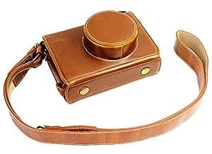 全保护底部开口版本保护 PU 皮相机包带三脚架设计,适用于 Fuji Fujifilm x100 x100s x100m x100t 带肩颈带4332178017 棕色