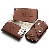 saborjp LS-616 棕色商务套装名片盒+钥匙包+卡包三件套 浅棕色